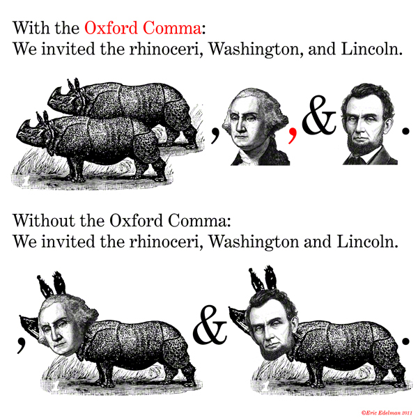 With and without the Oxford Comma