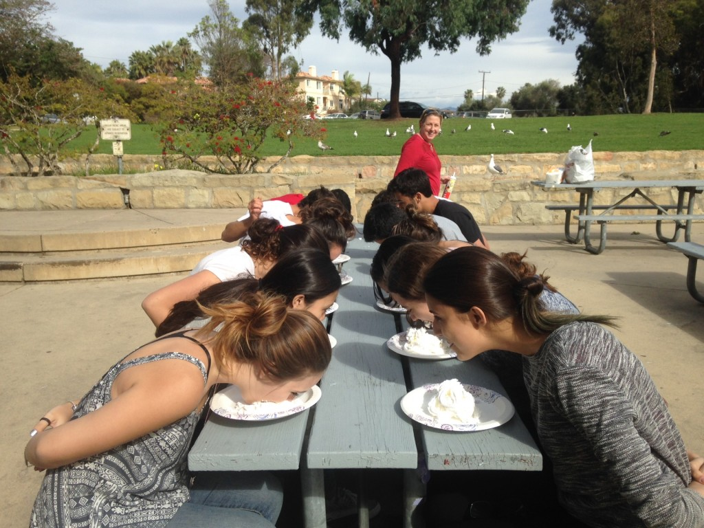 Winter Junior Program students pie eating copetition