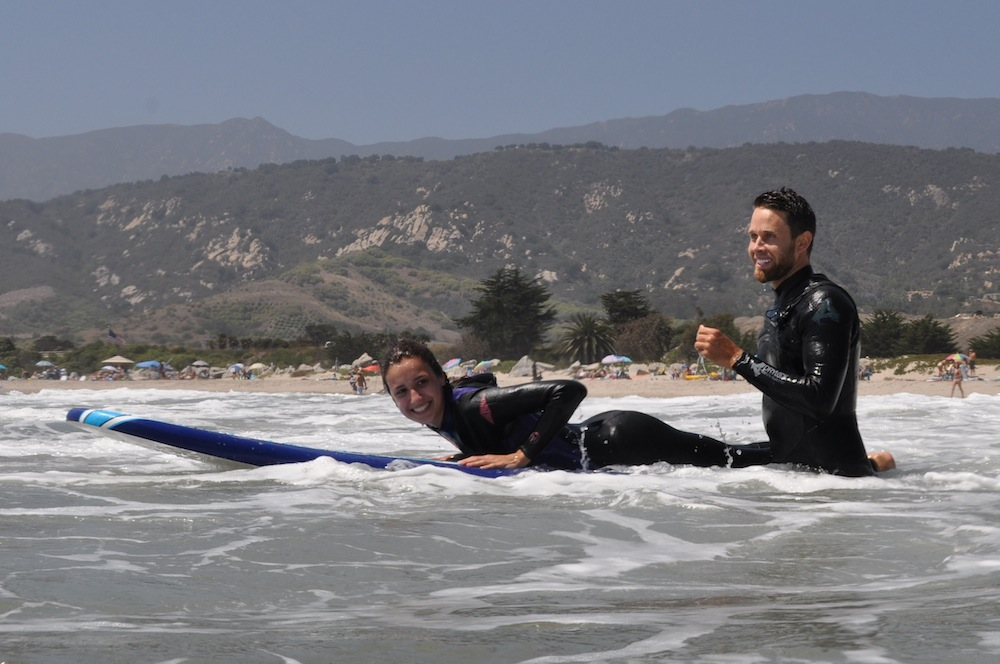 ELC Students surfing in Santa Barbara
