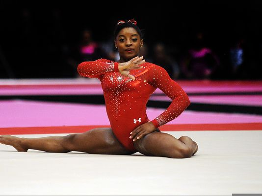 Simone Biles won her gymnastics gold medal by flipping, jumping, and leaping throughout her floor routine.
